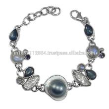 Natural Kyanite Iolite Labradorite Pearl Rainbow Moonstone & Blister Pearl Gemstone with 925 Sterling Silver Bracelet