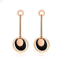 Rose Gold Black Drop Statement Chandelier Earrings