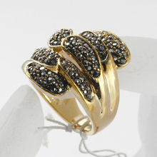 Christmas Gift gold Ring Wedding Band Bling rhinestone Crystal metal finger rings