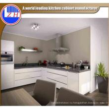 Современный глянцевый белый лак Flat Pack Fiber Kitchen Furniture с приламочным камнем