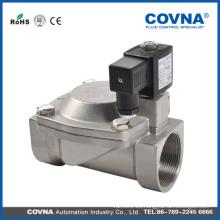 N / O Válvula electromagnética de agua de solenoide de acero inoxidable 2 vías de transmisión directa grande
