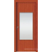 Portas interiores de alta qualidade de WPC, porta francesa de WPC com vidro geado ou vidro limpo