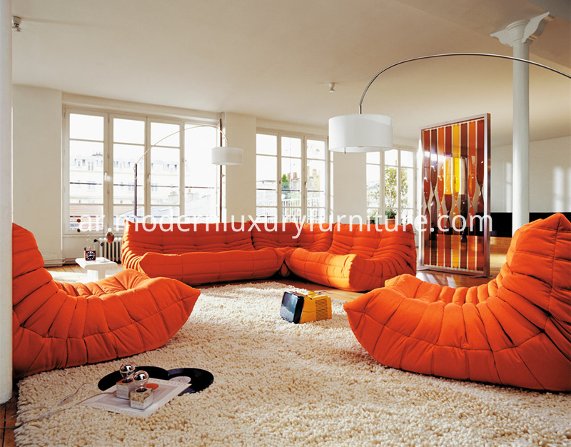 Red-Fabric-Togo-Sofa-Combination