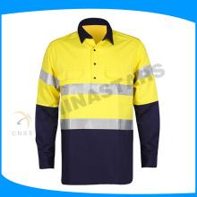 Preço de fábrica algodão broca olá vis camisa camisa de trabalho de manga longa