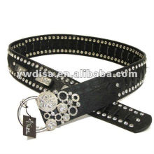 women's PU belt with black PU, clear rhinestones, alloy accessoris with rhodium plated