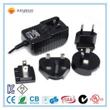 18W 24V 0.75A Adaptateur médical interchangeable à haute fiabilité AC / DC