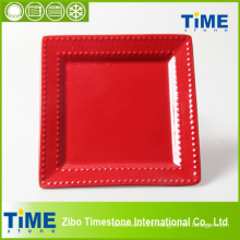 Ceramic Red Rose Color Glazed Plate (4082902)