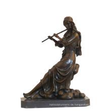Musik-Dekor-Messingstatue-klassische Dame, die Bronzeskulptur Tpy-989 schnitzt