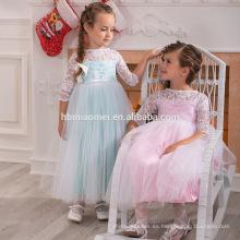 Tela de satén de color hermoso vestido de princesa de moda de tul de 3-5 años para vestido de fiesta de boda