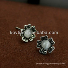 New arrival opal diamond jewelry 925 silver stud earrings