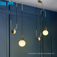 New Modern Simple Gold Metal Led lighting  Pendant lamps For hotel