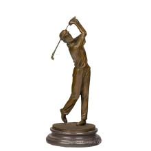 Sports En Laiton Statue Golfeur Décor Bronze Sculpture Tpy-395