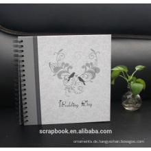 Foto Alben gestickte Blume, Liebe schwarz genäht Kunstleder Frame Cover Album
