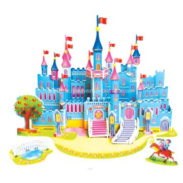 3D Blue Castle Puzzle
