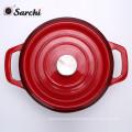 Utensílio de panela de sopa de ferro fundido cassete de esmalte de panela