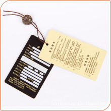 Paper machine price hang tag with plastic tag for garment labeling