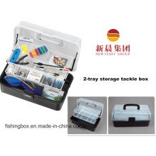 Transparen & Black Color 2-Tray Fishing Storage Box