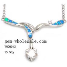 Collar de moda joyería de ópalo plata (YN00013)