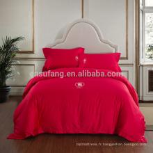 2017 Alibaba Fournisseur 4 pcs Home Textile Coton 3d Rose Impression Ensemble de Literie 3d Housse de Couette Ensemble Classique Lit Ensemble Fabriqué En Chine
