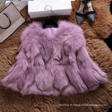 Bon prix capuche réel manteau de fourrure de renard hiver pour femme
