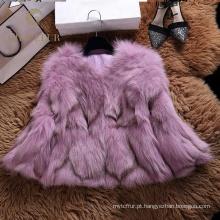 Bom preço capa real inverno casaco de pele de raposa para a mulher