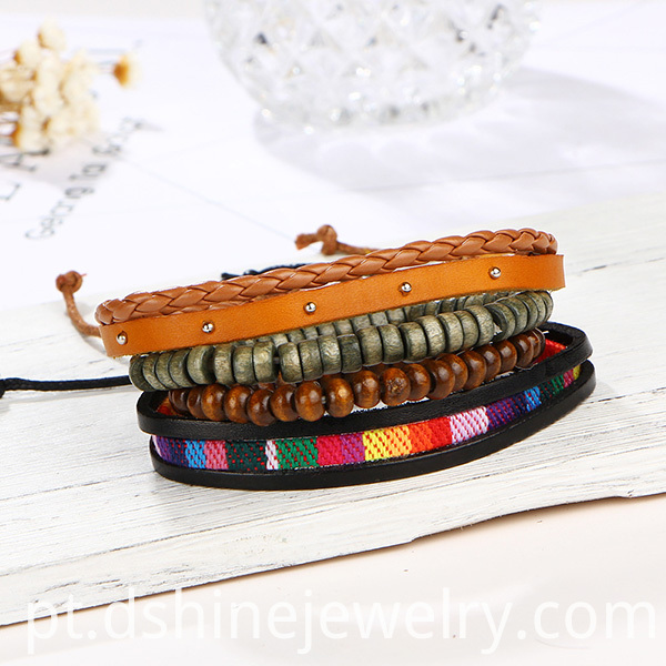 Wooden Bead Leather Bracelet For Girl