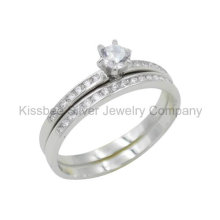 925 Silver Jewelry, Double Finger Ring, Brass Ring (KR3038)