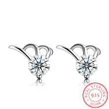 925 Sterling Silver Simple Design Zircon Earring Fashion Jewelry