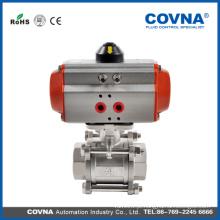 Ball válvula de aço inoxidável fornecedor atuador pneumático com 3 PC válvula de esfera de aço inoxidável