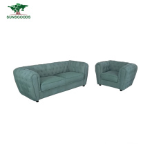 Chinese Modern Style Velvet Fabric Leather Classic Chesterfield Furniture Home Living Room Sofa