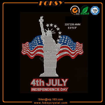 Fast Delivery for July 4Th Usa Rhinestone Transfer Statue of Liberty hot fix rhinestone patterns supply to Argentina Exporter
