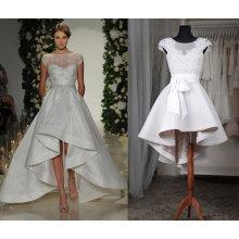 Высокая Низкая Лодка Шеи Атласная Свадебное Платье