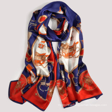 2017 Fashion trend good quality digital print bee floral pattern 100% silk long scarf shawl