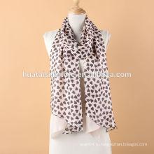 Сердце и сплошной цвет Ромб двухслойный удлиненный шелковый шарф