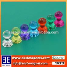 Selar material plástico de forma forte pote de ímã para venda / permanente ímã copo de neodímio / pino magnético colorido push para venda