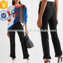 Le High ausgefranste Straight-Bein Jeans Herstellung Großhandel Mode Frauen Bekleidung (TA3054P)