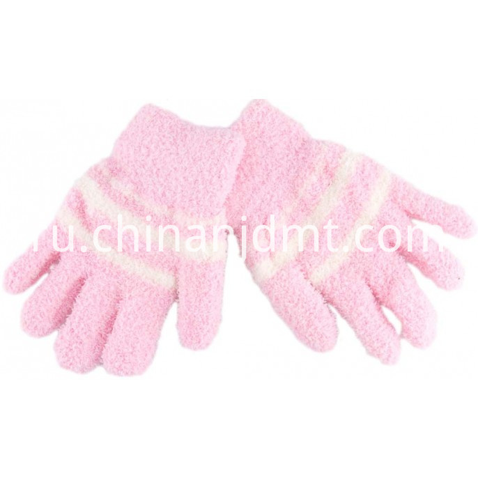 Kid S Cosy Stripe Gloves Pink