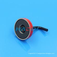 Aimant en pot en céramique en ferrite rouge avec crochet