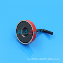 Red Ferrite Ceramic pot magnet with hook