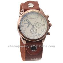 Großhandel Quarz echtes Leder Braun Herren Armbanduhr WL-019