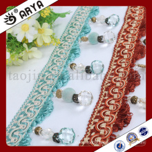beautiful new design beaded Fringe trim for Curtain decoration and lamp decoration
