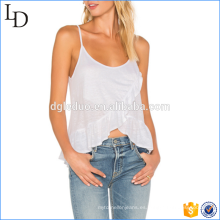 Últimas Top de diseño Sexy Sexy Spaghetti Strap Crop Top algodón Ladies Ruffle Tank Top