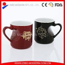 Valentine′s Day Porcelain Love Heart Shape Ceramic Glaze Mug