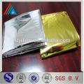 Película de filme de mylar reflectora / filme de laminagem de folha de alumínio / filme de estimação metalizado de ouro