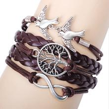 A árvore da vida pulseiras retrô antiga placa de prata infinito metal dupla voar pequenas aves cabo de mão-tecidos por atacado pulseiras