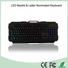 Teclado de juego de iluminación con LED de ajuste de brillo de materiales ABS (KB-1901EL-LB)