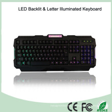 ABS Matériaux Réglage de la luminosité LED Illuminated Gaming Keyboards (KB-1901EL-LB)