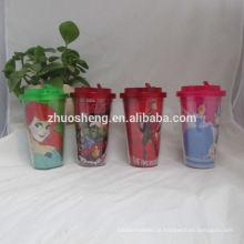 copos de plástico reutilizável de alta qualidade linda com tampa da cúpula