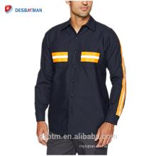 OEM Custom Long Sleeves 65% Polyester 35% Cotton Safety Uniform Mens Industrial Hi Vis Reflective Work Shirts