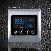 Interruptor de toque de termóstato de ar condicionado de 2 tubulações em moldura de metal (SK-AC2000L8-2P-N)